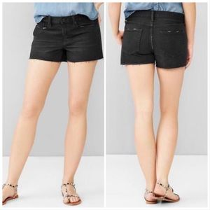 Gap 1969 Denim Slim Shorts Black Distressed 31